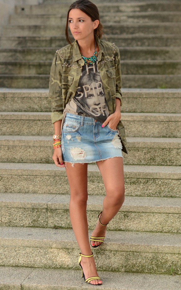 camouflage-shirt-and-denim-skirt